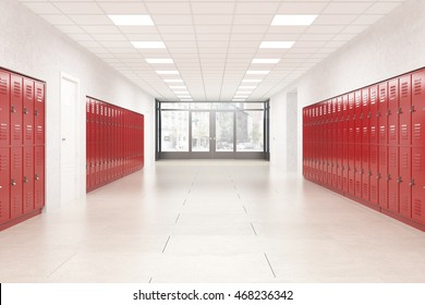 High school lobby with red shiny lockers. Fitness Gym. Concept of studying and getting knowledge. 3d rendering