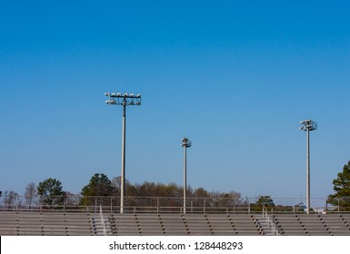High School metal bleachers overlooking the track and field