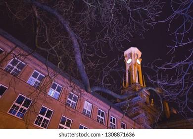 high school at night, city Kolín, Czech republic,