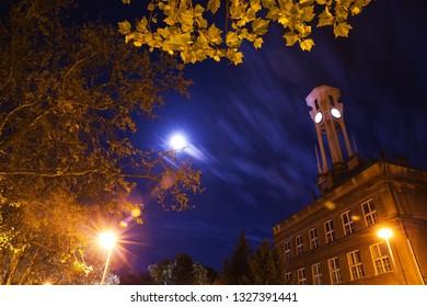 High school premises at night. city Kolín, Czech republic,