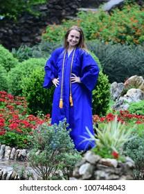High School Senior in Graduation photos at beautiful Botanical Garden