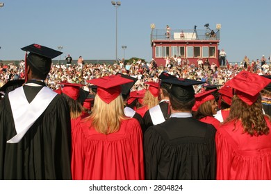 High school seniors at graduation. Editorial use.