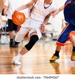 High school student playing basketball