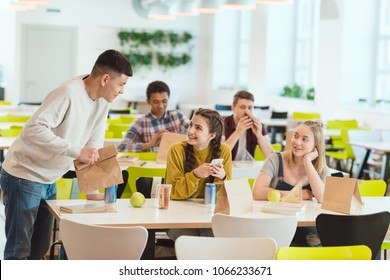 high school students at school cafeteria