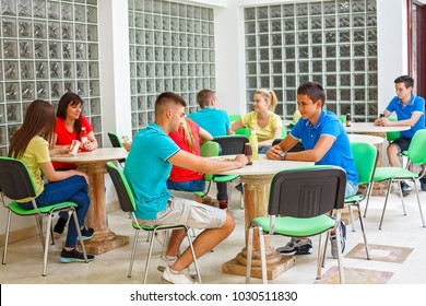 High school students on a break in cafeteria