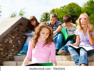 High school students studying in the outdoor