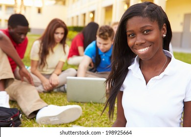 High School Students Studying Outdoors On Campus