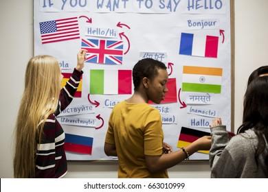 High school students working on international flags board