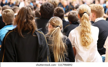 high school teenage students in uniform sitting listening at assembly or presentation. Teaching, learning, teacher, education educational concept. Faces blurred,  not visible or recognisable