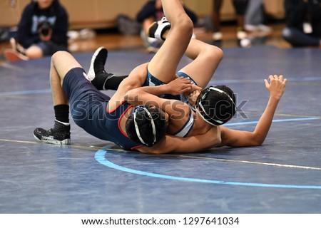 High School Wrestlers Competing Wrestling Meet Stock Photo