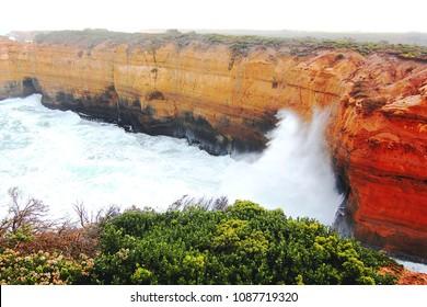 High sea waves erosion sandstone at the great ocean road, Melbourne Australia