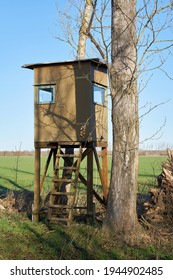 High seat of a hunter at the edge of a field near Magdeburg in Germany