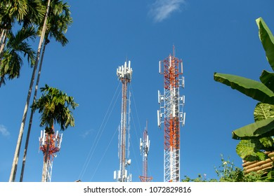 High signal voltage posts in the blue sky background