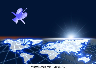 High space of world and satelite communicate.