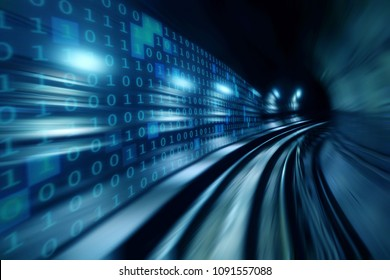 High speed with binary code numbers on motion blurred path or track, speed and faster digital matrix technology information concept. - Shutterstock ID 1091557088
