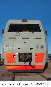 high speed diesel locomotive front view, low angle