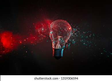 high speed image of bulb glass explode background