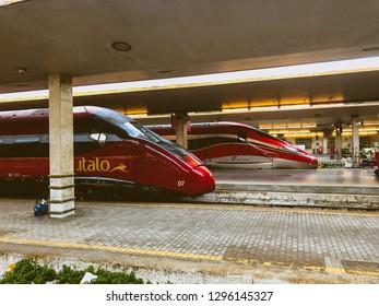 High speed italian trains Frecciarossa and Italo. Florece Santa Maria Novella, Firenze, Italy 27/01/2019. These are the fastest italian trains ever. Photo.