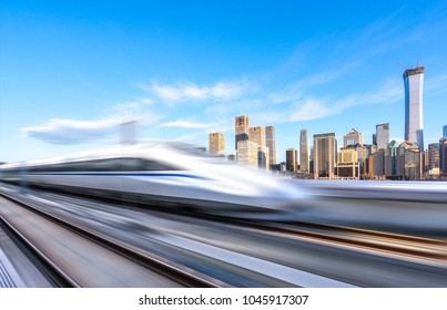 High Speed Rail with cityscape in beijing china