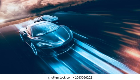 High speed, sports cars racing - futuristic concept (with grunge overlay) generic and brandless - 3d illustration
