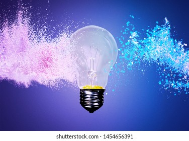 High speed studio photography, moment of the impact of a bullet on a classic electric bulb. Detail of glass explosion, blue and purple lighting. Concept of obsolete energy.          - Image