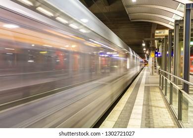 High Speed Train rushing through Train Station in Mainz Germany