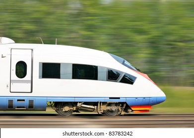 High speed train of Russia, the streamlined design of a modern bullet train.