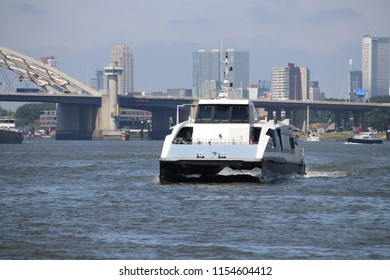 High speed waterbus over the river Lek which connects city of Rotterdam with Dordrecht.