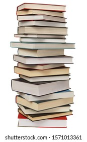 High stack of books isolated on white background