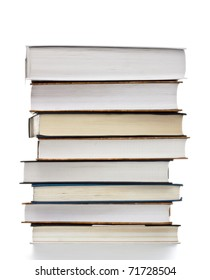 high stack of books isolated on white