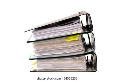 high stack of folders isolated on a white background