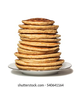High stack of Oat pancakes on a plate. Isolated on white. Shallow DOF