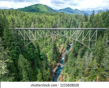 High Steel Bridge, a truss arch bridge above Skokomish River in Washington, USA