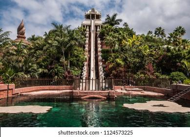High steep water slide on Tenerife water park.