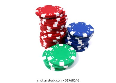 high stock of red blue and green poker chips isolated in white background