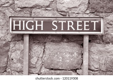 High Street Sign in Black and White Sepia Tone