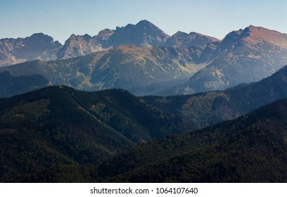 High Tatra Mountain in summer. lovely scenery observed from village Zakopane, Poland