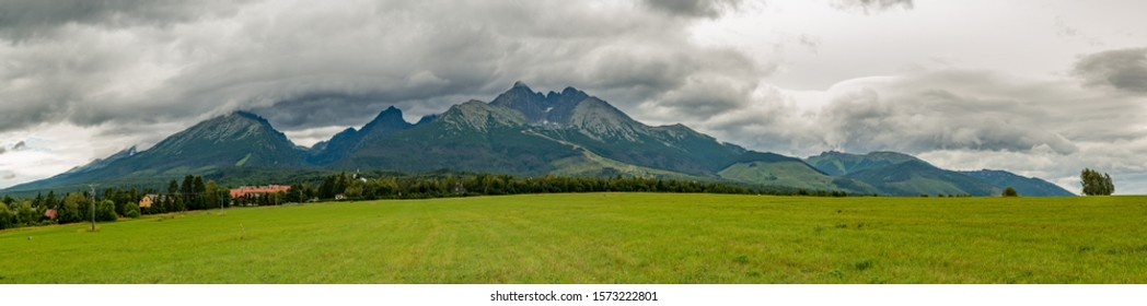 high tatra mountains panorama with lomnicky stit in clouds