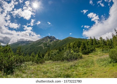 high tatra mountains view side with lomnicky stit
