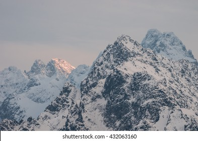 High Tatra mountains in the winter evening