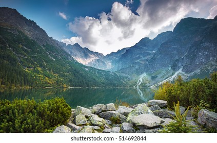 High Tatras and Morskie Oko lake in the backlight,Poland