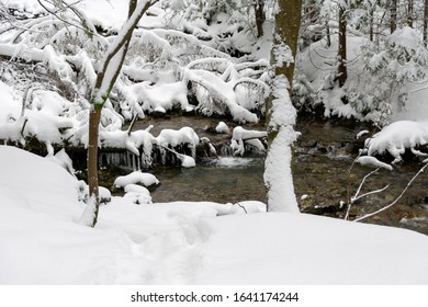 High Tatras mountain river in winter