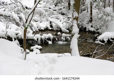 High Tatras mountain river in winter