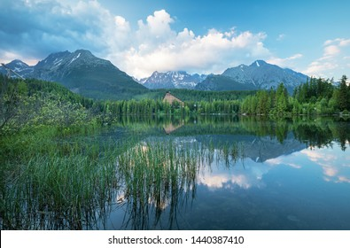 High Tatras mountains national park and Strbske pleso  (Strbske lake) mountain lake, Slovakia