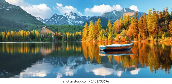 High Tatras mountains national park at sunset and Strbske pleso  (Strbske lake) beautiful mountain lake in Slovakia