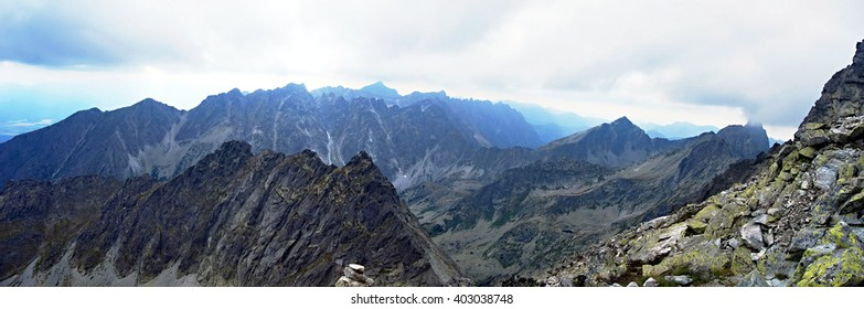 High Tatras mountains panorama during descend from Vysoka peak