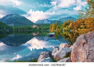 High Tatras mountains and Strbske pleso  (Strbsle lake) mountain lake, Slovakia