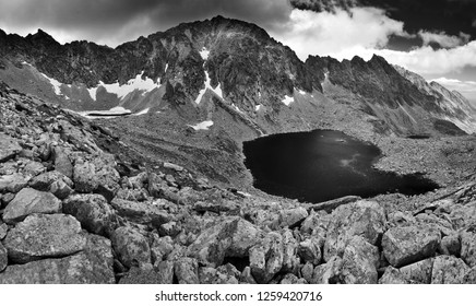 High Tatras nature mountains panorama in black and white