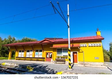 "High Tatras, Slovakia - September 19, 2018: Pod Lesom - small railway station of Tatra Electric Railways (TEZ-TER) (also known as ""Tatra tram"") in High Tatras mountains, Slovakia"
