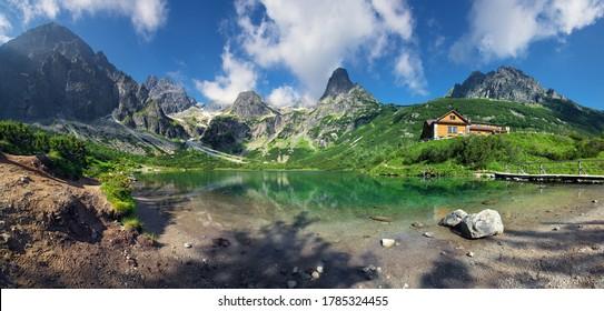 High Tatras and the Zelene Pleso (Green lake) with the Belianske Tatry behind,( Chata pri Zelenom Plese) Slovakia